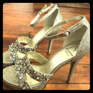 Adrianna Papell Gold Beaded Glitter Evening Shoes.